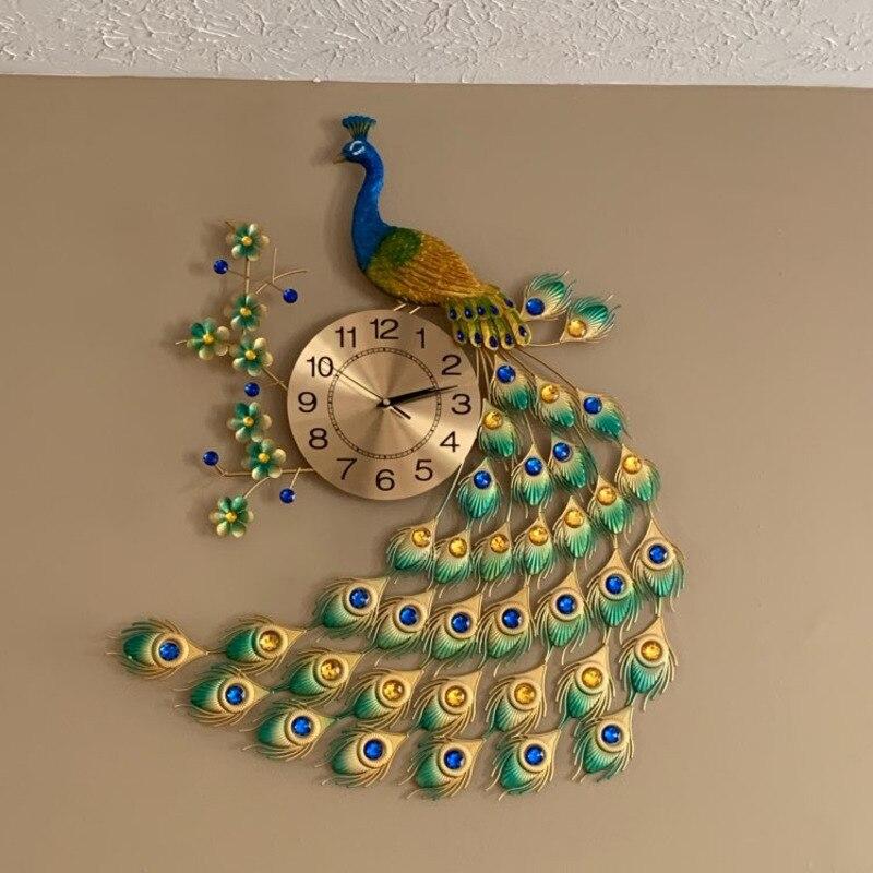 Reloj de pared de cuarzo Pavo Real 78*50cm personalidad Simple Europea moderno creativo sala de estar decorado dormitorio Reloj de pared silencioso
