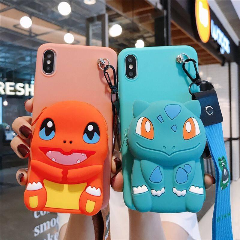 IPhone 6 7 8 Plus X XS X XR 11 Pro MAX cubierta cartera Charizard Squirtle Bulbasaur TPU caso suave