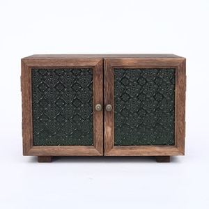 Retro Simple Locker Green Embossed Begonia Glass Door Storage Cabinet Solid Wood Desktop Small Cabinet