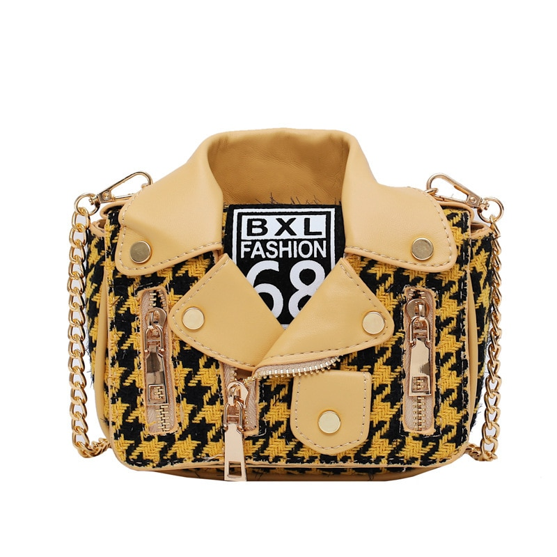 New European Brand Designer Bags Women Personality Woolen Shirt Shape Shoulder Bags Women Leather INS HOT Messenger Bag Chain