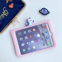 cartoon cute lovely unicorn soft silicone tablet stand holder case for ipad 6 7 air 1 2 3 mini 4 5 pro 2017 2018 cover