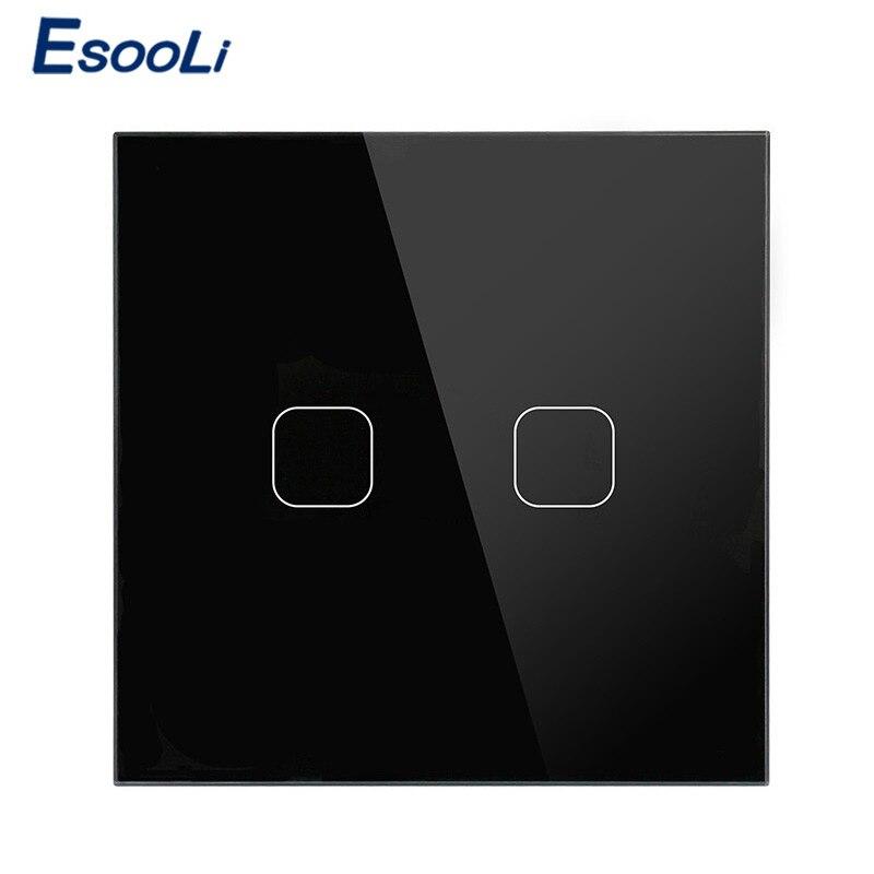 Esooli UE Stanard 1 1 Maneira Gangue Interruptor de Toque Interruptor de Toque Do Painel de Vidro Cristal Branco, interruptor Da Tela de toque levou interruptor de luz