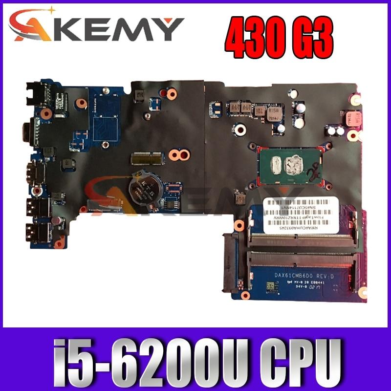 ل HP 430 G3 440 G3 X61C اللوحة المحمول مع i5-6200U CPU DDR4 DAX61CMB6C0 DAX61CMB6D0 855658-601 855658-001 100% اختبار العمل
