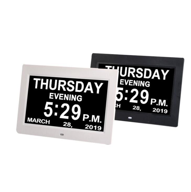 "New Design 8"" Led Digital Calendar Dementia Elderly Alarm Clock Day Date Time Clock For Vision Loss"