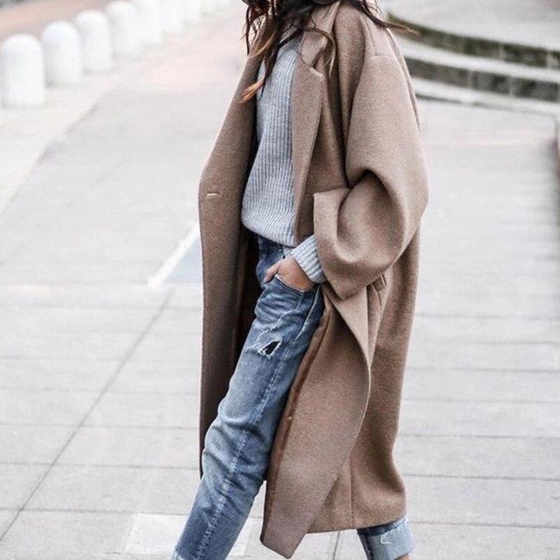 Abrigo largo de gabardina de moda para mujer, abrigo largo de invierno,...