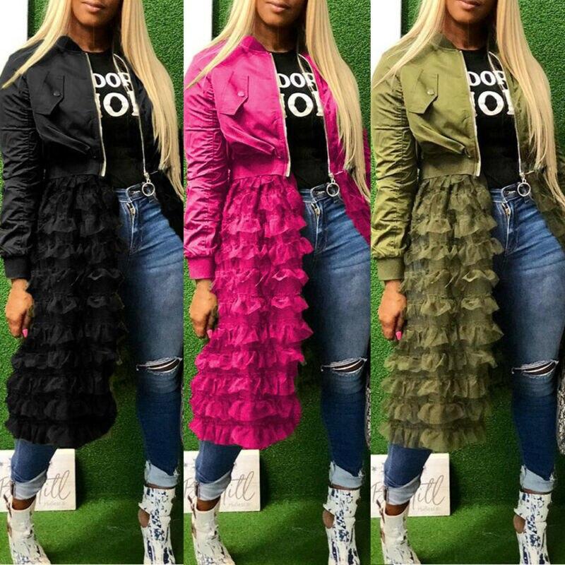 Women Jacket 2019 Fashion Solid Color Long Sleeve Womens Jackets Lace Ruffles Mesh Stitching Suit Elegant Overcoat Long Jackets