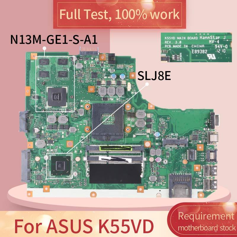 Hm76 para ASUS K55VD REV.3.0 SLJ8E N13M-GE1-S-A1 DDR3 placa base de prueba completa de 100% trabajo