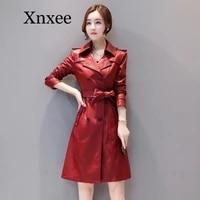 womens elegant pu leather long jackets with belt ladies faux sheepskin trench coat streetwear plus size 5xl female outerwear