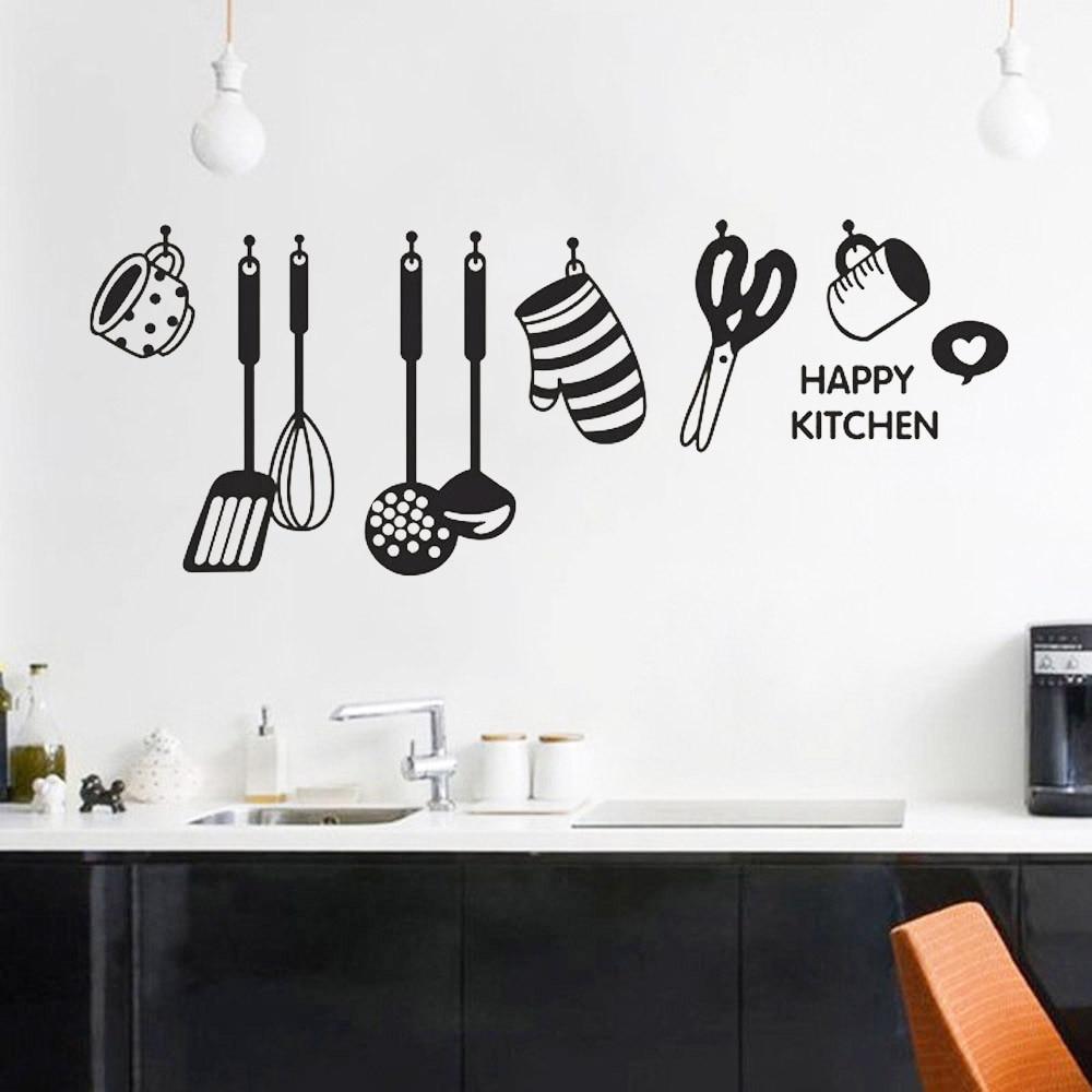 Calcomanías de paredes de cocina DIY autoadhesivas, diseño divertido creativo, utensilios de cocina, pegatinas de pared para restaurantes, decoración del hogar de PVC
