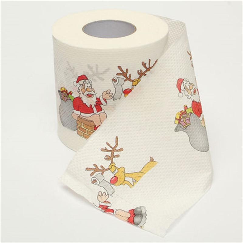 Рулон туалетной бумаги с рождественским принтом деда мороза 2 слоя предметы для