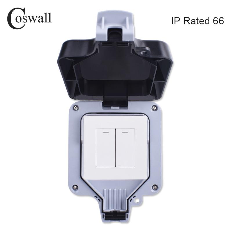 Interruptor de pared impermeable al aire libre IP66 cosmall 2 gang 1 interruptor de luz On / off