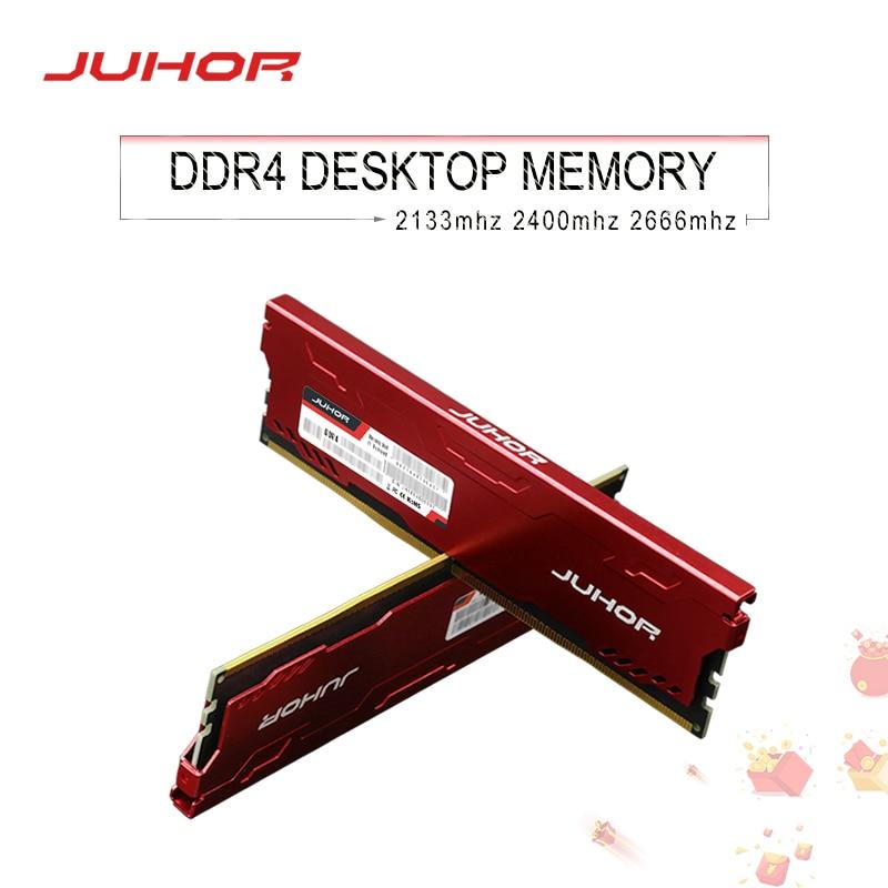 Juhor ddr4 ram 16GB 8GB 4GB 2133MHz 2400MHz 2666MHz DIMM Desktop Memory New dimm Ship memoria rams with Heat Sink