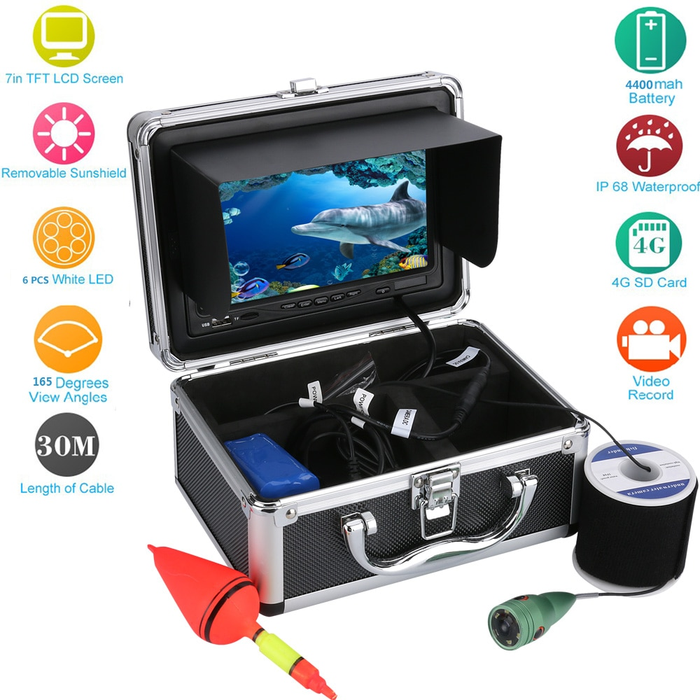 20 m/30 m/50 m 7 color color cor digital lcd 1000tvl peixe finder hd dvr gravador de vídeo pesca à prova dwaterproof água câmera de pesca subaquática