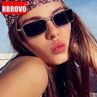 rbrovo small rectangle sunglasses women 2021 retro eyeglasses for womenmen metal glasses women mirror gafas de sol mujer uv400