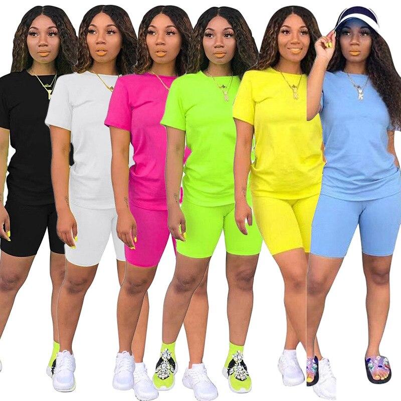 2020 causal 2 peça terno sólido manga curta colheita topos camiseta calças curtas agasalho conjunto de correspondência feminino corredores sportwear S-XXXL