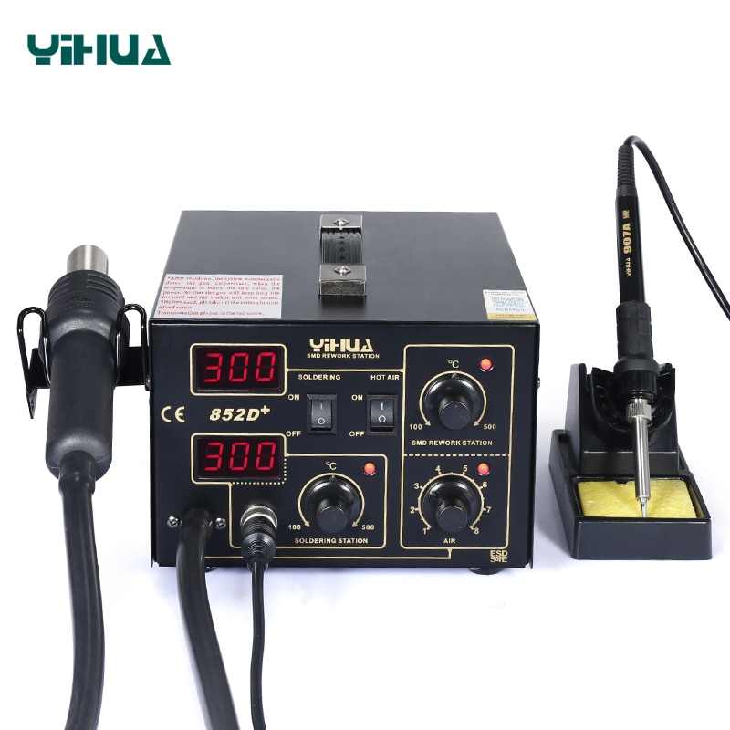 YIHUA 852D+ 500 Celsuis Hot Air Soldering Station With Soldering Iron Heat Gun Tool BGA Welding Station SMD Desoldering Station