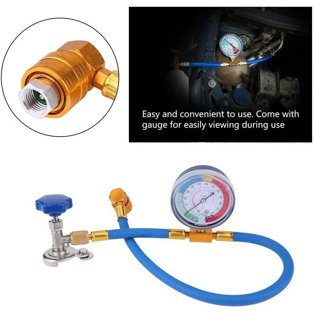 Medidor de manguera de medición para recarga de aire acondicionado de coche, tubo de refrigerante de válvula R134A, accesorios para aire acondicionado de coche