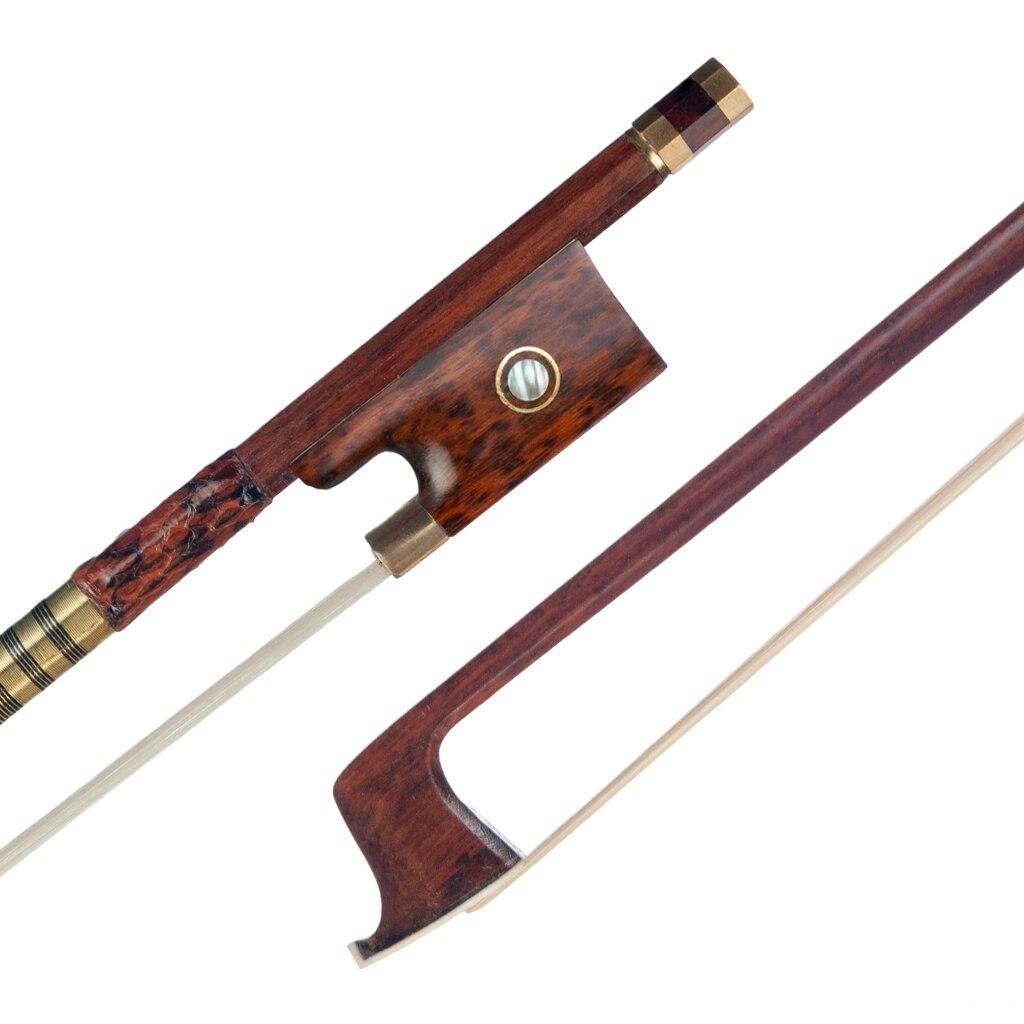 4/4 Pernambuco Violine Bogen Runde Stick Bogen W/Schlangenholz Frosch Paris Eye Inlay Schlange Haut Grip Weiß Mogolia Rosshaar