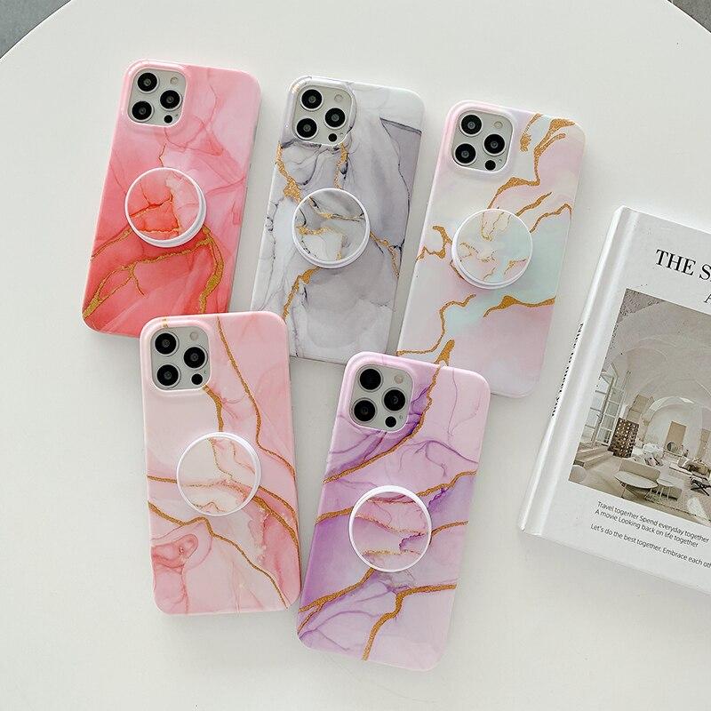 The marble folding bracket case is suitable for Apple 11 12 pro max phone case iPhone x xs xr 7 8plus case phone case