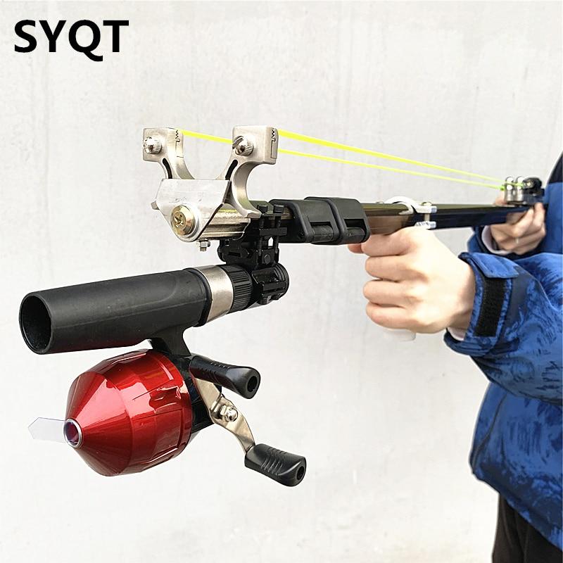 جديد عالية الطاقة في الهواء الطلق الدقة اطلاق النار مقلاع اللاتكس شريط مطاطي قابل للسحب للطي قضيب طويل مقلاع صيد الاطفال