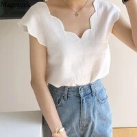 2021 summer fashion casual v neck short sleeve white blouse new chic wave design loose women shirt top