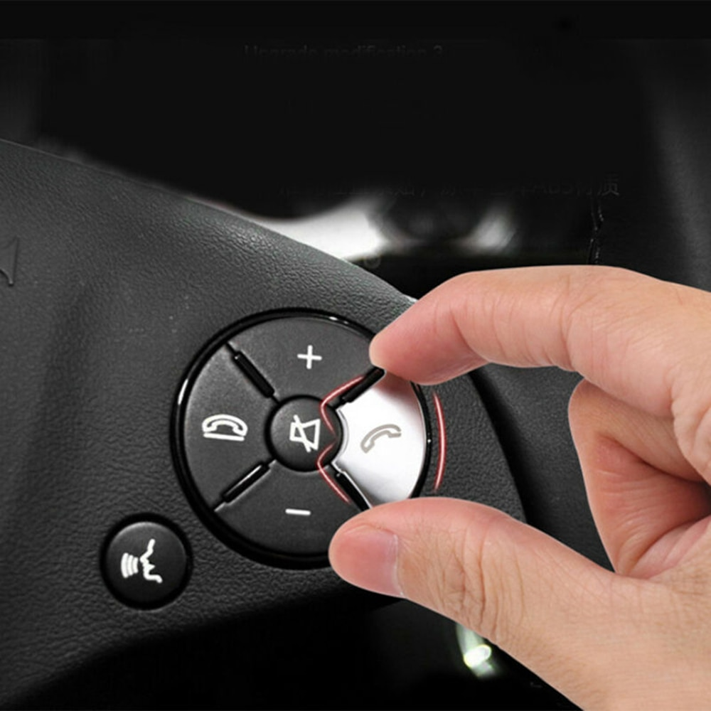Cubierta de botón para volante de coche cubierta de ABS plateada para Mercedes Benz C/E/S clase W204