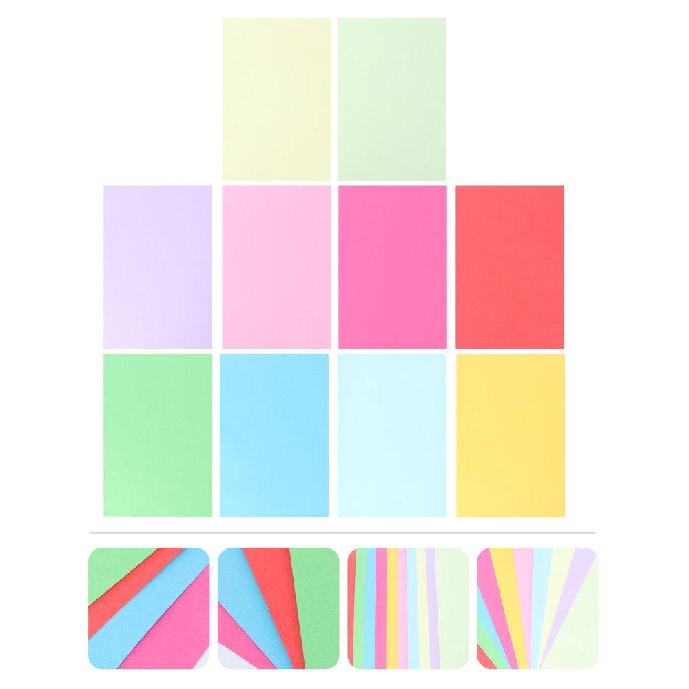 100PCS Colored Copy Paper DIY Hand Craft Paper Paper Folding for Kids Size A4(Mixed 20 Color)