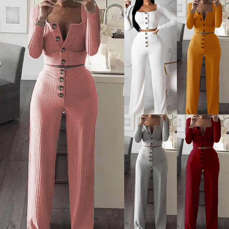 2021 Europe and America women new fashion long sleeve cardigan slim button casual suit new style
