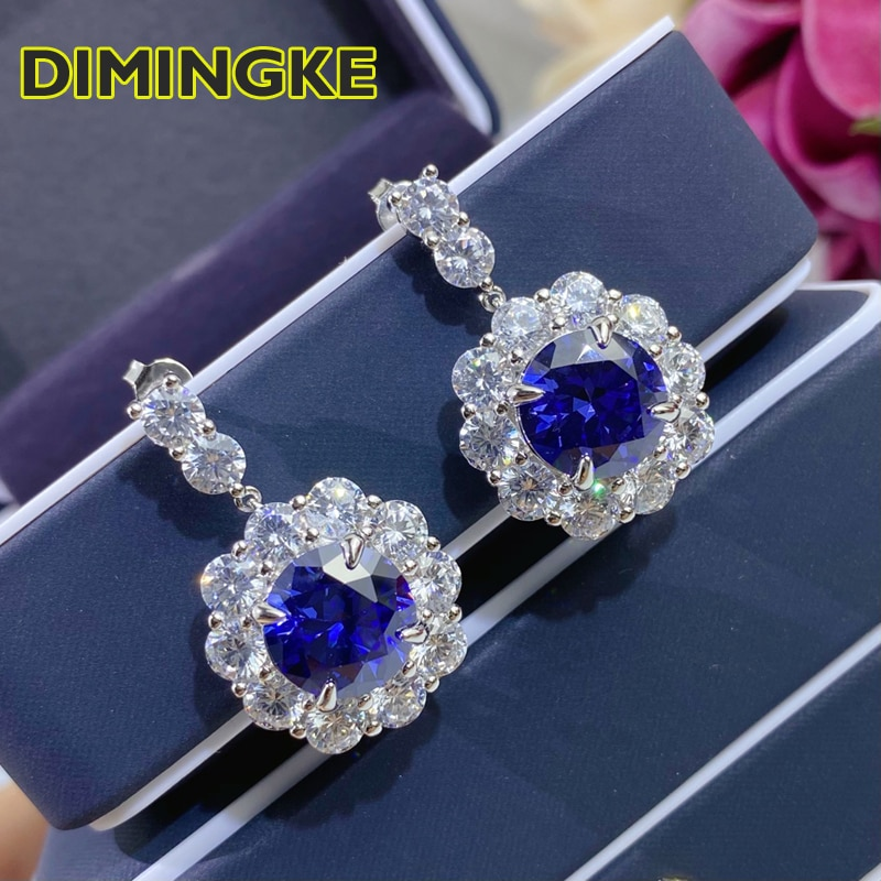 Review DIMINGKE 13*13MM Sapphire Silver Earrings 100%-S925 Super Flash Women's Jewelry Party Anniversary Birthday Gift