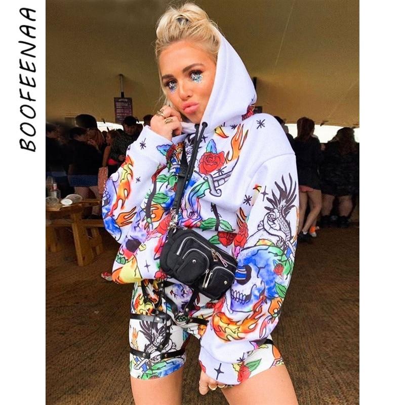 Boofeenaa crânio graffiti camo hip hop womens oversized com capuz hoodies streetwear camisolas longas outono inverno 2020 C70-AH09