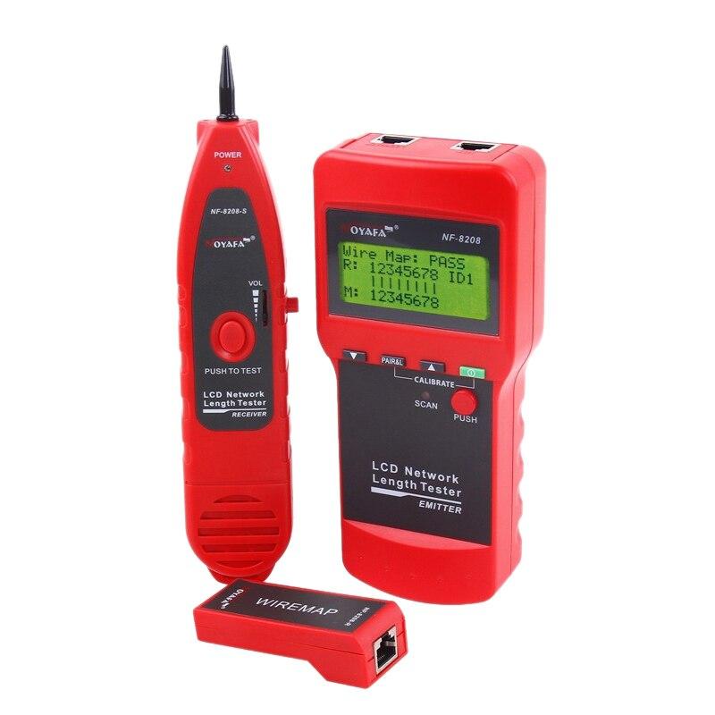 NOYAFA NF-8208 pantalla LCD red LAN Cable Tester rastreador de cables escáner de longitud RJ45