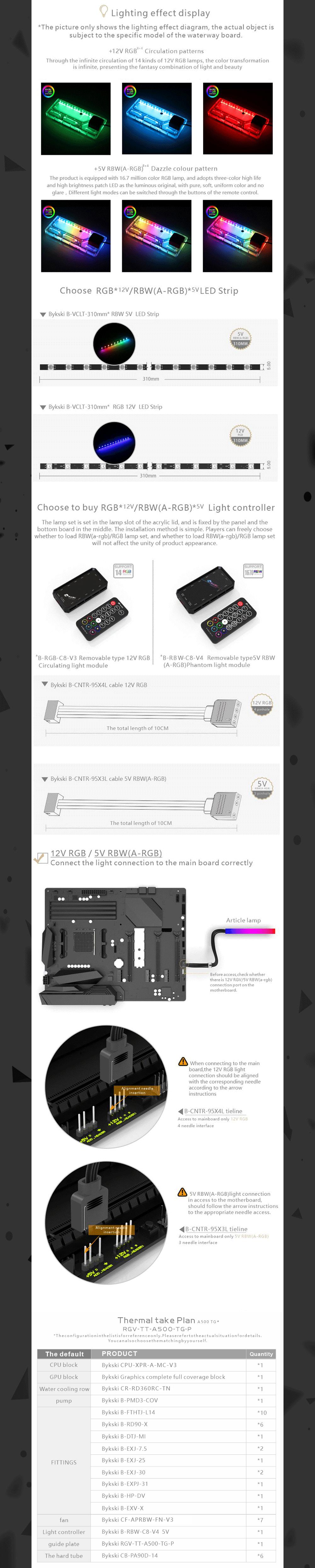 Bykski Waterway Cooling Kit For Tt A500TG Case, 5V ARGB, For Single GPU Building, RGV-TT-A500-TG-P