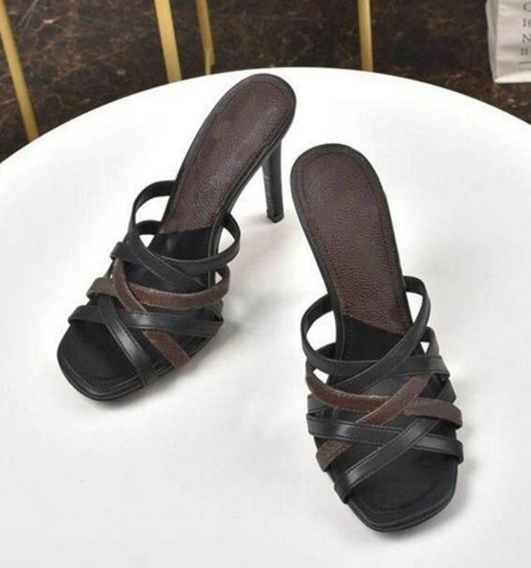 Fashion sandals designer shoes summer heel height 10cm pointed sexy sliding box size 35-40 enlarge