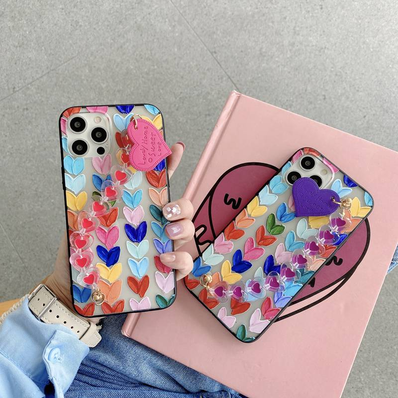 Cute Heart Pearl Crystal Chain Case For Huawei P30 P40 Y7A Y9A Y9S Y8S Y6S Y5P Y6P Y7P Mate 40 30 20