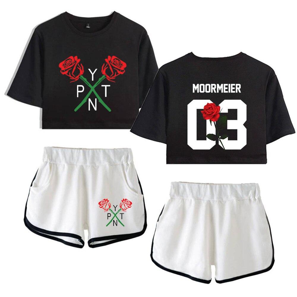 2020 celebridad Web payton moormeier PYTN conjunto de dos piezas para mujeres pantalones cortos + bonita camiseta gran oferta de trajes de camiseta del ombligo de rocío