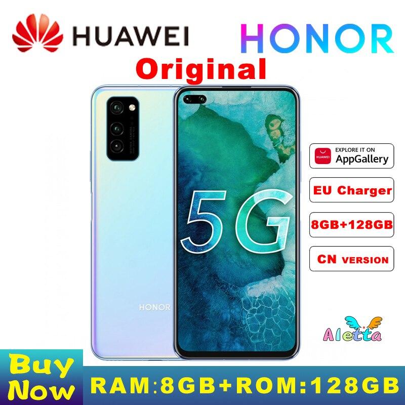 Перейти на Алиэкспресс и купить Оригинал, Huawei Honor V30 8 Гб оперативной памяти 128 ГБ ROM, смартфон с Kirin990 Octa Core 5G GPU 40mp тройной Cam 40 Вт SuperCharge
