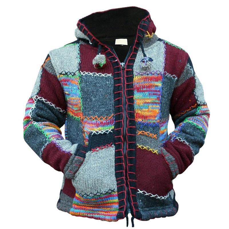 Vintage Men Cardigan Hooded Sweater Men Jacket Autumn Patchwork Knit Ethnic Style Outwear Patch Sweatshirts Coat Tops