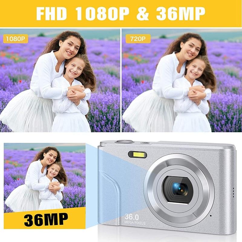 1080P 36.0 Mega Pixels Digital Camera with 16X Digital Zoom, LCD Screen, Portable Mini Cameras for Students Teens enlarge