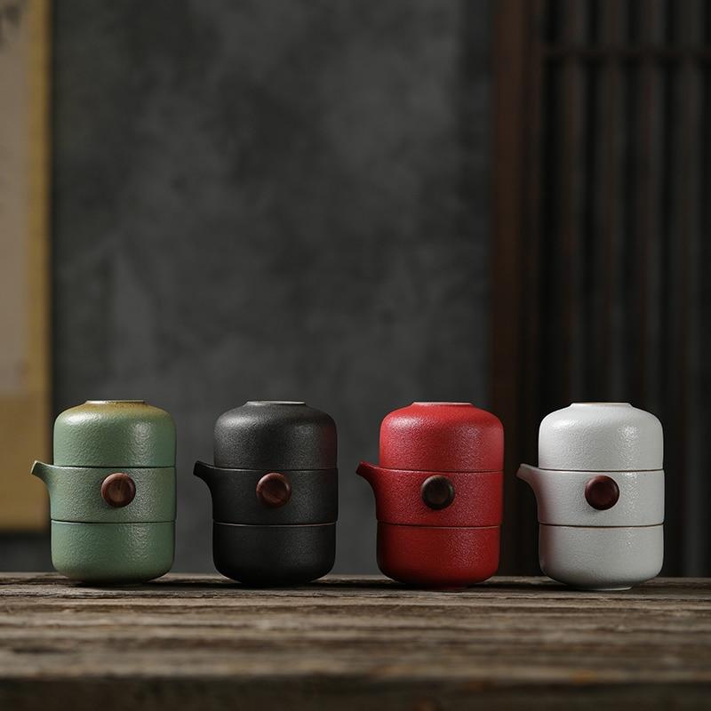 LUWU japanese ceramic teapot gaiwan teacups handmade portable travel office tea set drinkware