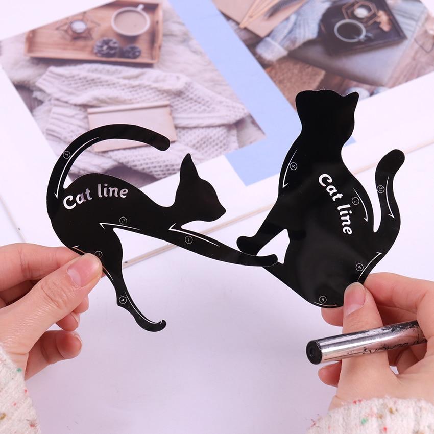 2PCS/set Women Cat Line Pro Eye Makeup Tool Eyeliner Stencils Beauty Eyebrow Template Shaper Model women girl
