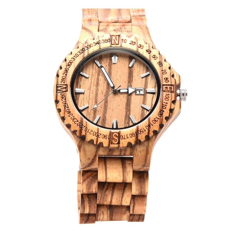 Relógio de Quartzo dos Homens Topo de Luxo Marca de Madeira Relógios de Pulso Relógios do Esporte de Madeira Hofost Relógio Masculino