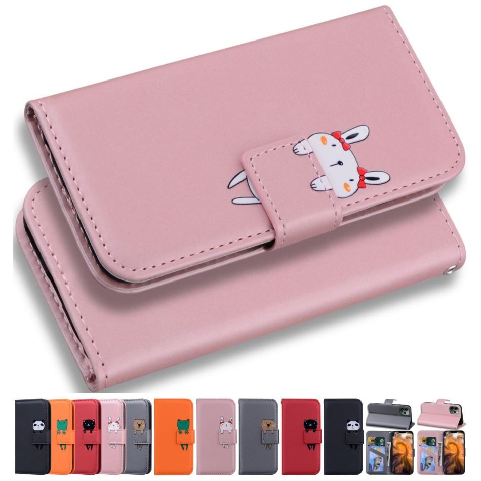 Funny Panda Frog Cat Rabbit Dog Phone Bags For Case apple iPhone 7 8 Plus 7P 8P 7+ 8+ Cute Pet Gilr Boy Capa Magnetic Cover D22G