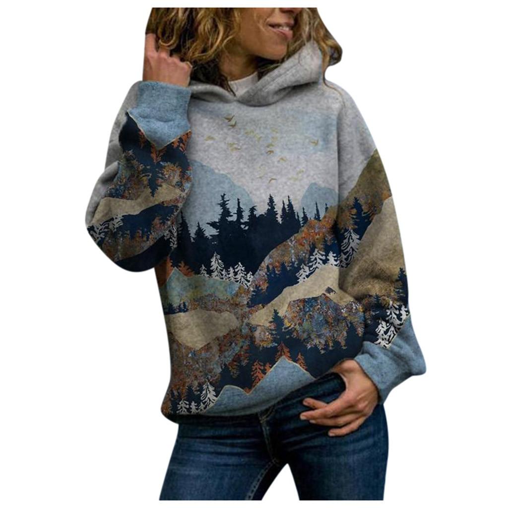 Fashion Women Pullover Hoodie Winter 2020 Harajuku Couple Sweatshirt Plus size Mountain View Printed