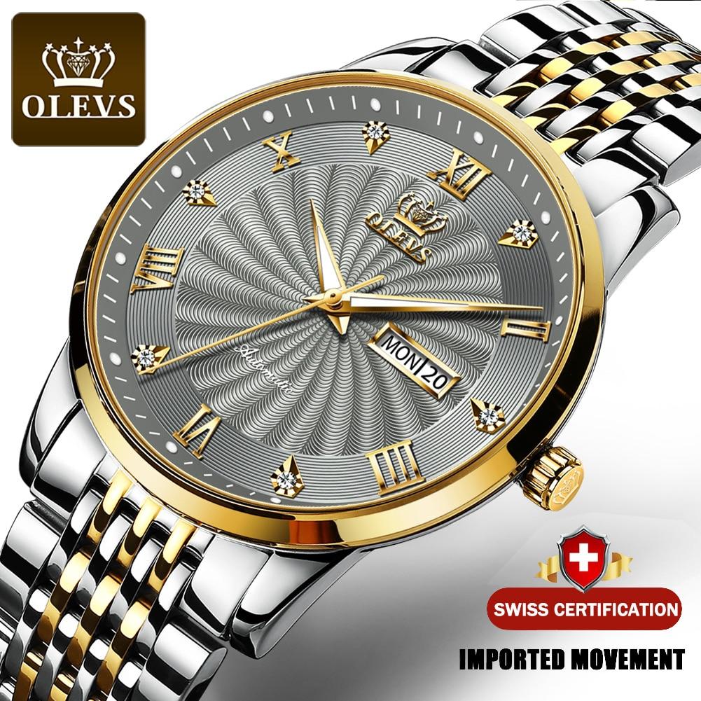 Olevs relógio mecânico masculino topo da marca de luxo relógio automático esporte moderno relógio leste para homem luxo relógio casual