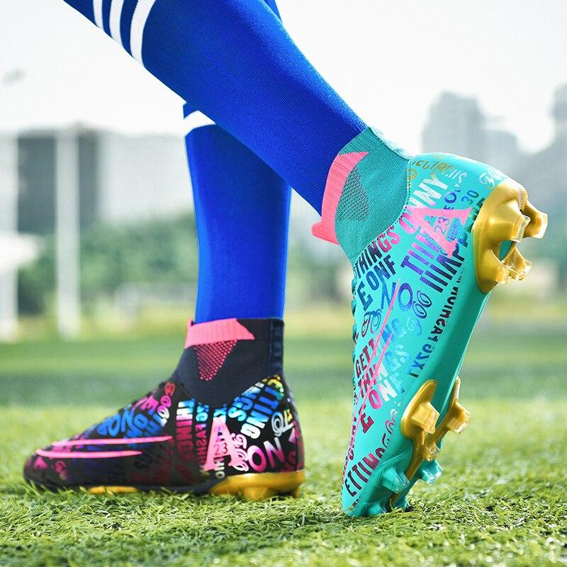 Brand Designs Football Boots Men High-Top Indoor Training Futsal Shoes Training Football Boots Big S