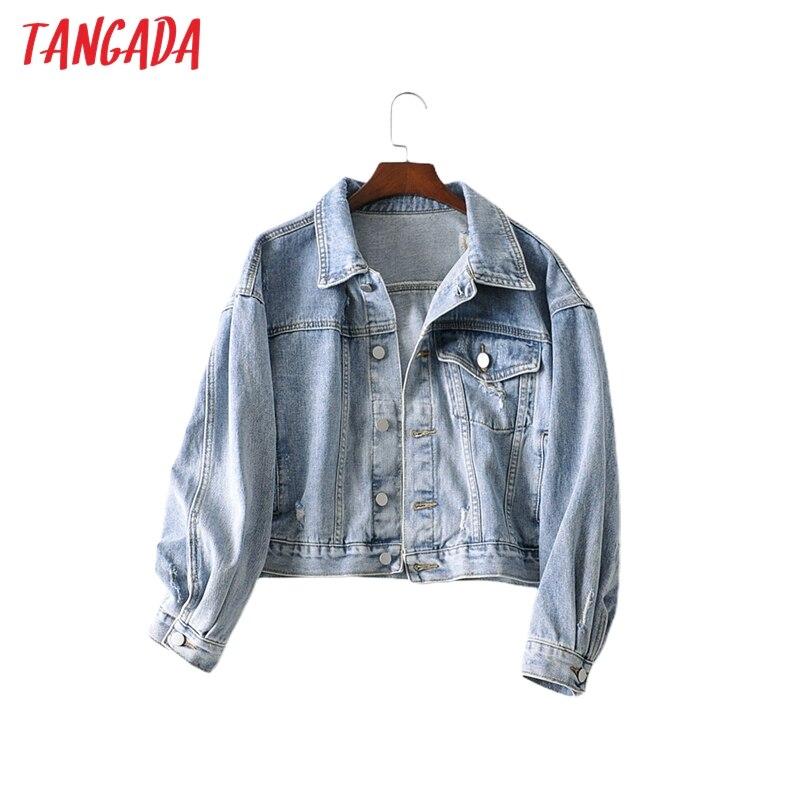 Moda de mujer Tangada Chaquetas vaqueras de gran tamaño estilo boy friend bolsillo casual bolsillos crop coat tops AI30