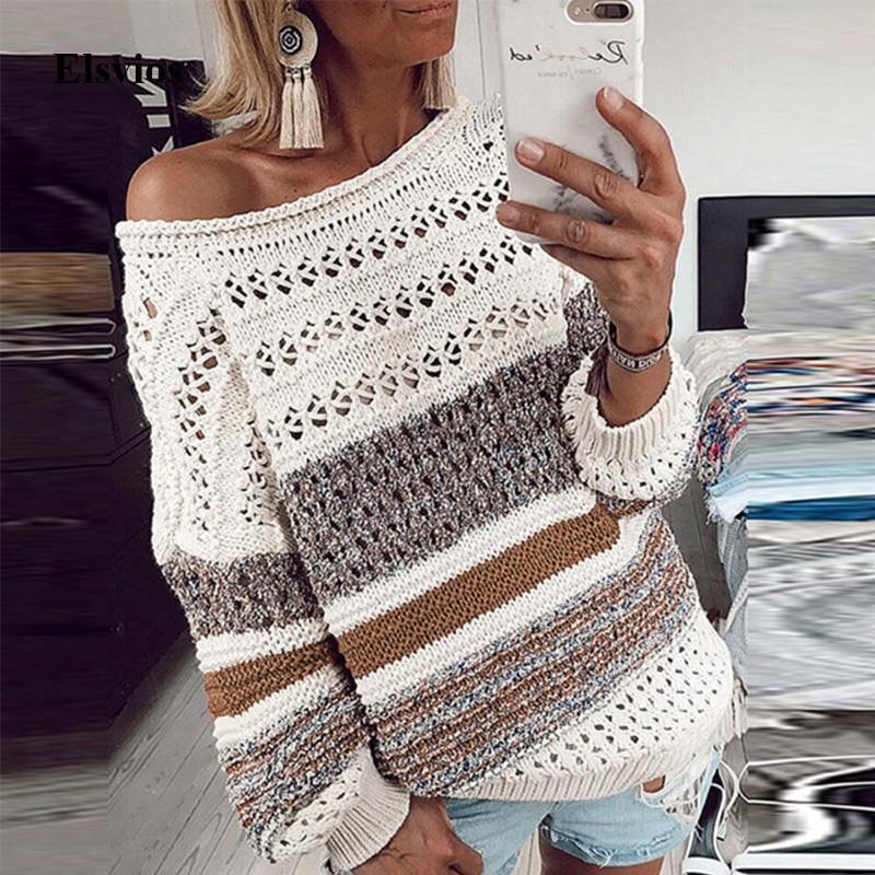 Suéteres y jerseys para mujer, suéteres de lana de punto cálidos para invierno, Túnica a rayas por debajo del hombro, sueltos, Sexy, de manga larga