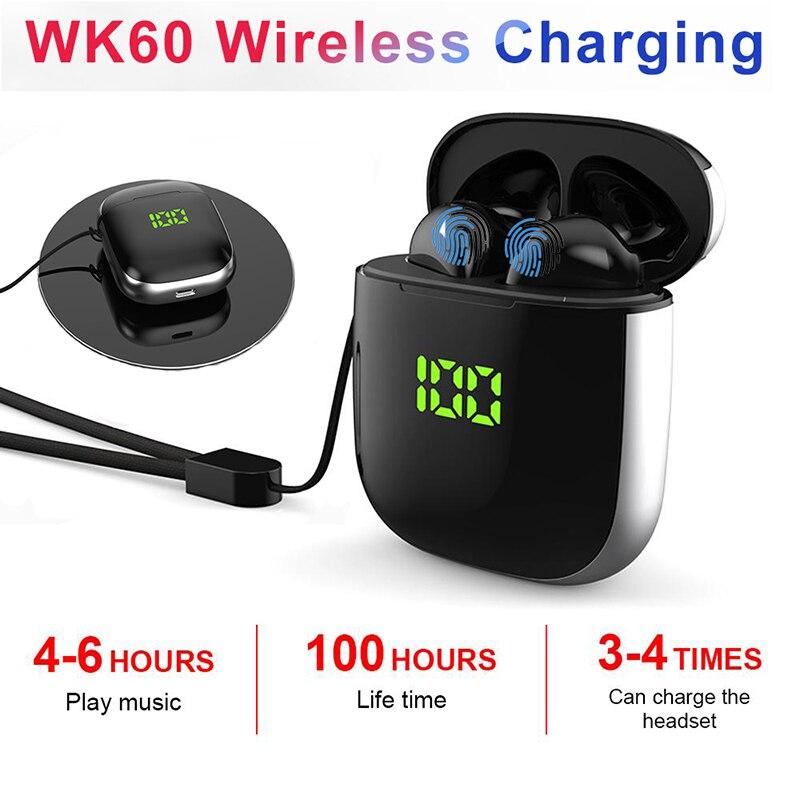 Original WK60 TWS Bluetooth Earphone Pop-up Windows Wireless Sport Headphone 5D Stereo Headsets LED Display with Charging Box