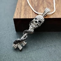 new exaggerated bohemian crystal inlaid skull pendant necklace ladies fashion snake wrapped key crystal hanging necklace jewelry