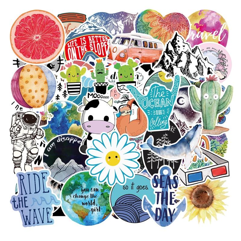 Paquete de pegatinas de 50 Uds Vsco para chicas, pegatinas de dibujos animados para Laptop, nevera, teléfono, Maleta de Skateboard, impermeable